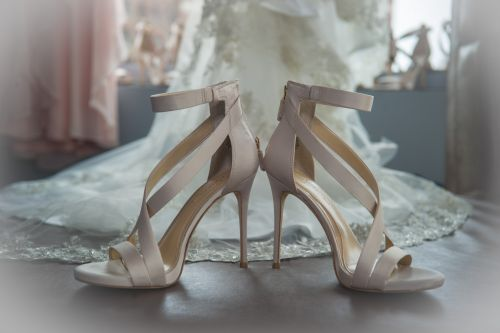 Pink bridal wedding shoes at the W hotel in boston, new england wedding photographer china town