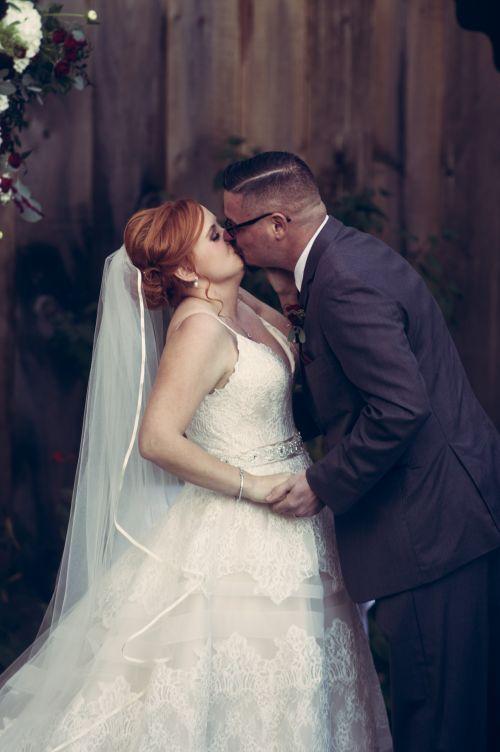 First kiss. New england wedding ceremony.  wedding photography.